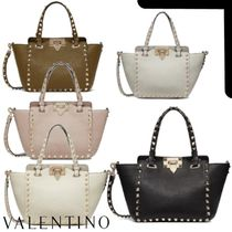 VALENTINO Casual Style Calfskin Studded 2WAY Plain Leather