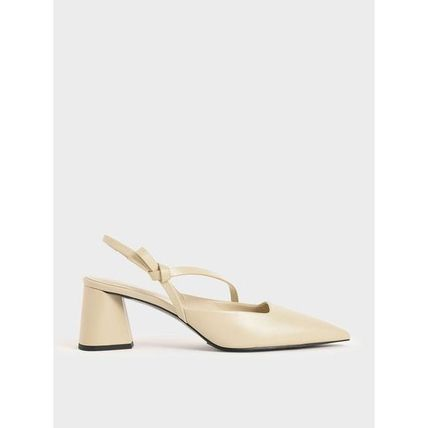 Charles&Keith Casual Style Faux Fur Plain Elegant Style Pumps & Mules