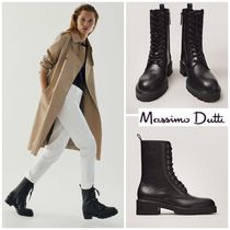 Massimo Dutti Round Toe Lace-up Casual Style Street Style Plain Leather
