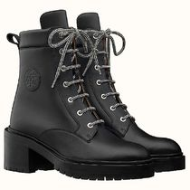 HERMES Plain Toe Mountain Boots Casual Style Plain Leather