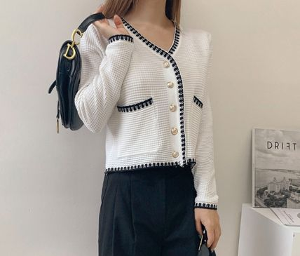 Short Casual Style Tweed Long Sleeves Medium Party Style