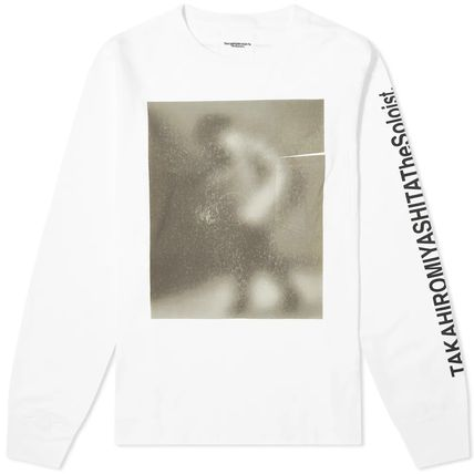 Crew Neck Pullovers Long Sleeves Cotton Logos on the Sleeves