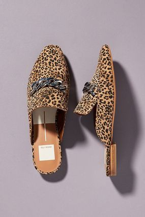 Leopard Patterns Rubber Sole Casual Style Suede Chain Plain