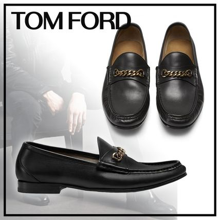 Style Plain Leather U Tips Loafers