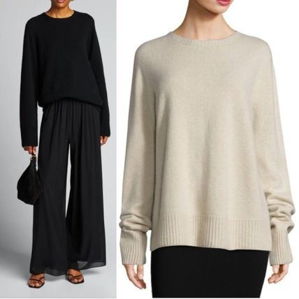 The Row Crew Neck Casual Style Wool Cashmere Blended Fabrics