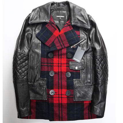 D SQUARED2 Wool Blended Fabrics Leather Biker Jackets