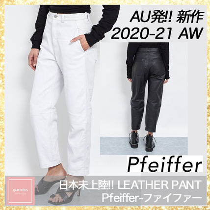 Pfeiffer Leather & Faux Leather Casual Style Street Style Plain Leather Long Office Style