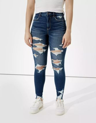 American Eagle Outfitters Denim Blended Fabrics Street Style Plain Cotton Logo
