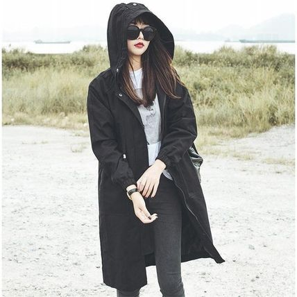Nylon Plain Medium Parkas