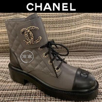 CHANEL Platform Round Toe Lace-up Chain Plain Leather Block Heels