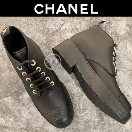 CHANEL Platform Round Toe Lace-up Blended Fabrics Plain Block Heels