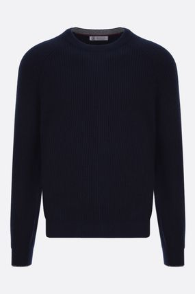 Crew Neck Pullovers Wool Cashmere Silk Long Sleeves Plain