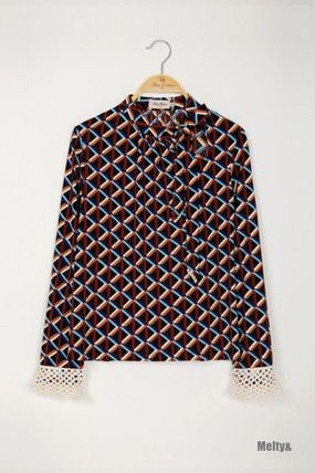 Other Plaid Patterns Lace-up Casual Style Long Sleeves