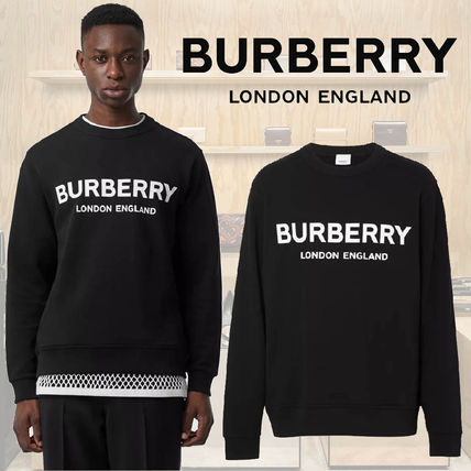 Burberry Plain Cotton Logo Luxury Sweatshirts