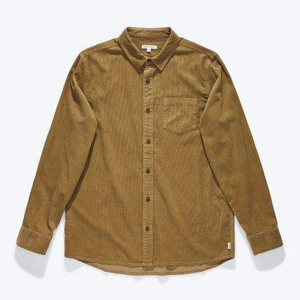 Button-down Long Sleeves Plain Cotton Khaki Logo