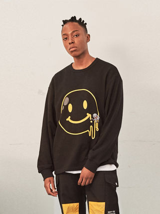 Crew Neck Unisex Street Style Long Sleeves Cotton Logo