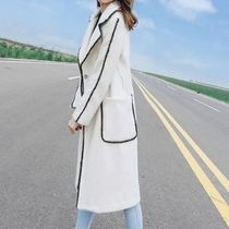 Wool Plain Medium Elegant Style Bridal Chester Coats