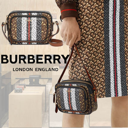 Burberry Stripes Monogram Canvas Bi-color Logo Shoulder Bags