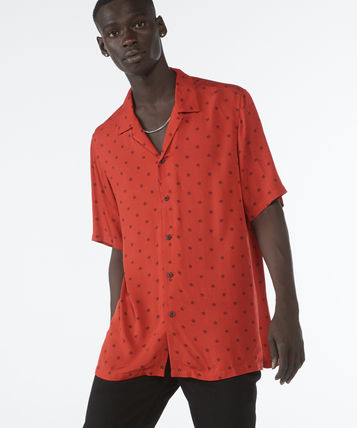 Button-down Star Street Style Short Sleeves Shirts