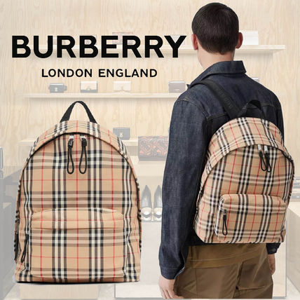 Burberry Tartan Unisex Calfskin Logo Backpacks
