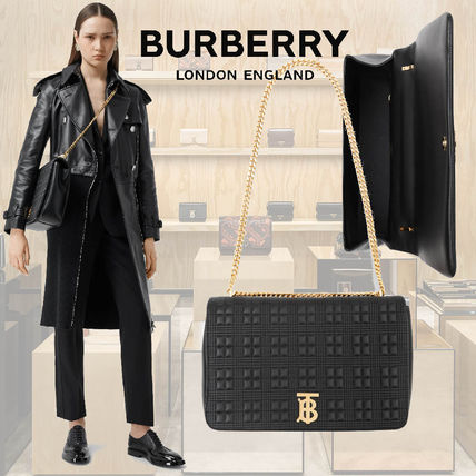 Burberry Lambskin Chain Plain Crossbody Logo Shoulder Bags