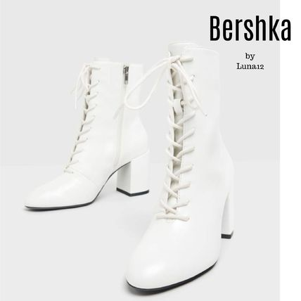 Bershka Lace-up Casual Style Plain Block Heels Lace-up Boots