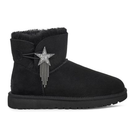 Star Casual Style Sheepskin Plain Flat Boots