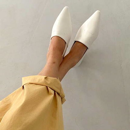 Casual Style Faux Fur Pointed Toe Shoes