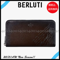 Berluti Blended Fabrics Leather Long Wallet  Logo Long Wallets