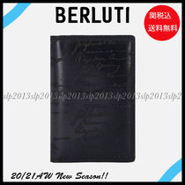Berluti Blended Fabrics Leather Logo Card Holders