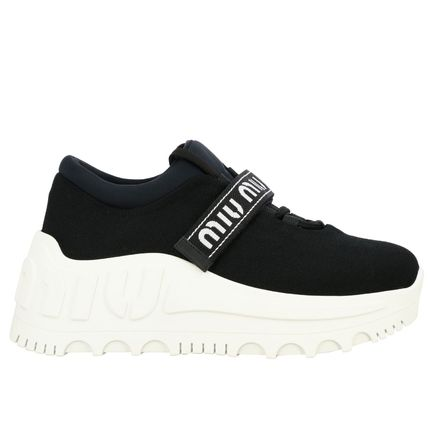 MiuMiu Monogram Platform Round Toe Rubber Sole Lace-up Casual Style