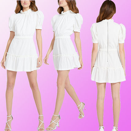 Short Casual Style A-line Plain Short Sleeves Party Style