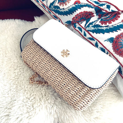 Tory Burch Logo Blended Fabrics Chain Plain Leather Straw Bags