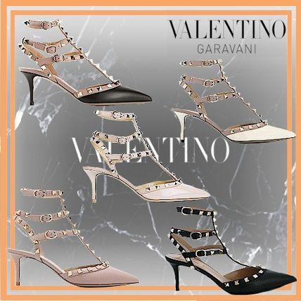 VALENTINO Square Toe Casual Style Enamel Studded Pin Heels