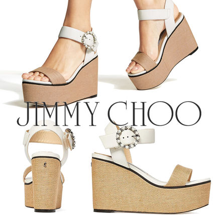 Jimmy Choo Open Toe Platform Casual Style Plain Leather With Jewels