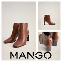 MANGO Square Toe Casual Style Block Heels Ankle & Booties Boots