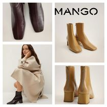 MANGO Square Toe Rubber Sole Casual Style Leather Elegant Style