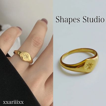Star Casual Style 18K Gold Rings