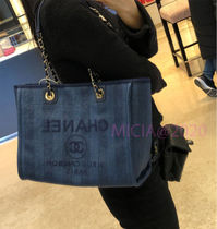 CHANEL DEAUVILLE Casual Style Canvas Plain Elegant Style Totes