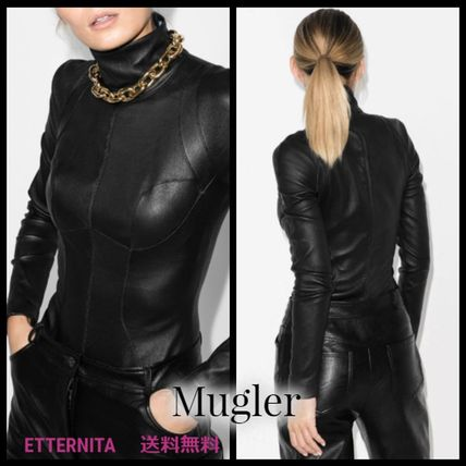 Casual Style Long Sleeves Plain Leather High-Neck