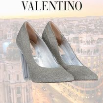 VALENTINO Round Toe Plain Leather Party Style Office Style