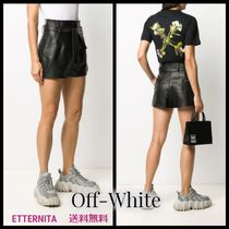 Off-White Short Casual Style Leather Leather & Faux Leather Shorts