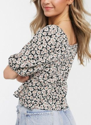 Flower Patterns Casual Style Cotton Short Sleeves