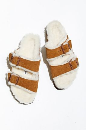 Suede Street Style Plain Leather Shearling Sandals