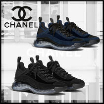CHANEL SPORTS Unisex Suede Street Style Plain Leather Logo Sneakers