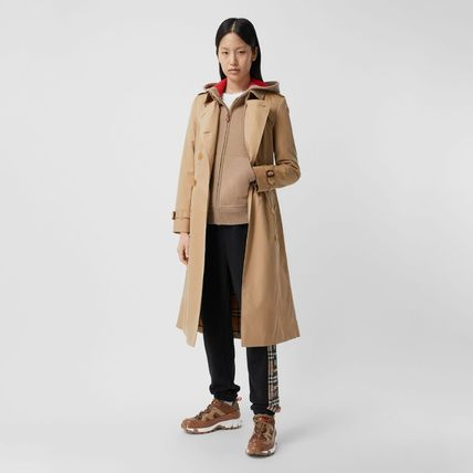 Burberry Casual Style Street Style Plain Leather Logo Trench Coats