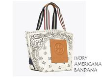Tory Burch Paisley Casual Style A4 Logo Totes