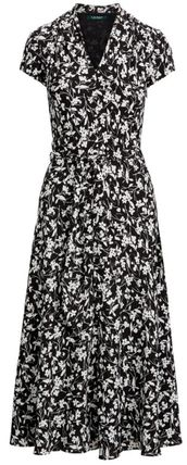 Ralph Lauren Flower Patterns Casual Style A-line Chiffon Flared V-Neck