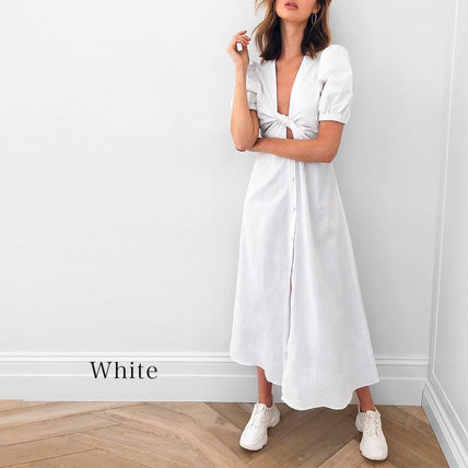 Casual Style Tight A-line V-Neck Plain Long Short Sleeves