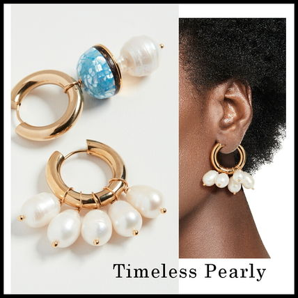 TIMELESS PEARLY Earrings Casual Style Party Style Brass Office Style Elegant Style